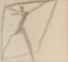 Egon Schiele, Männerfigur mit erhobenen Armen…