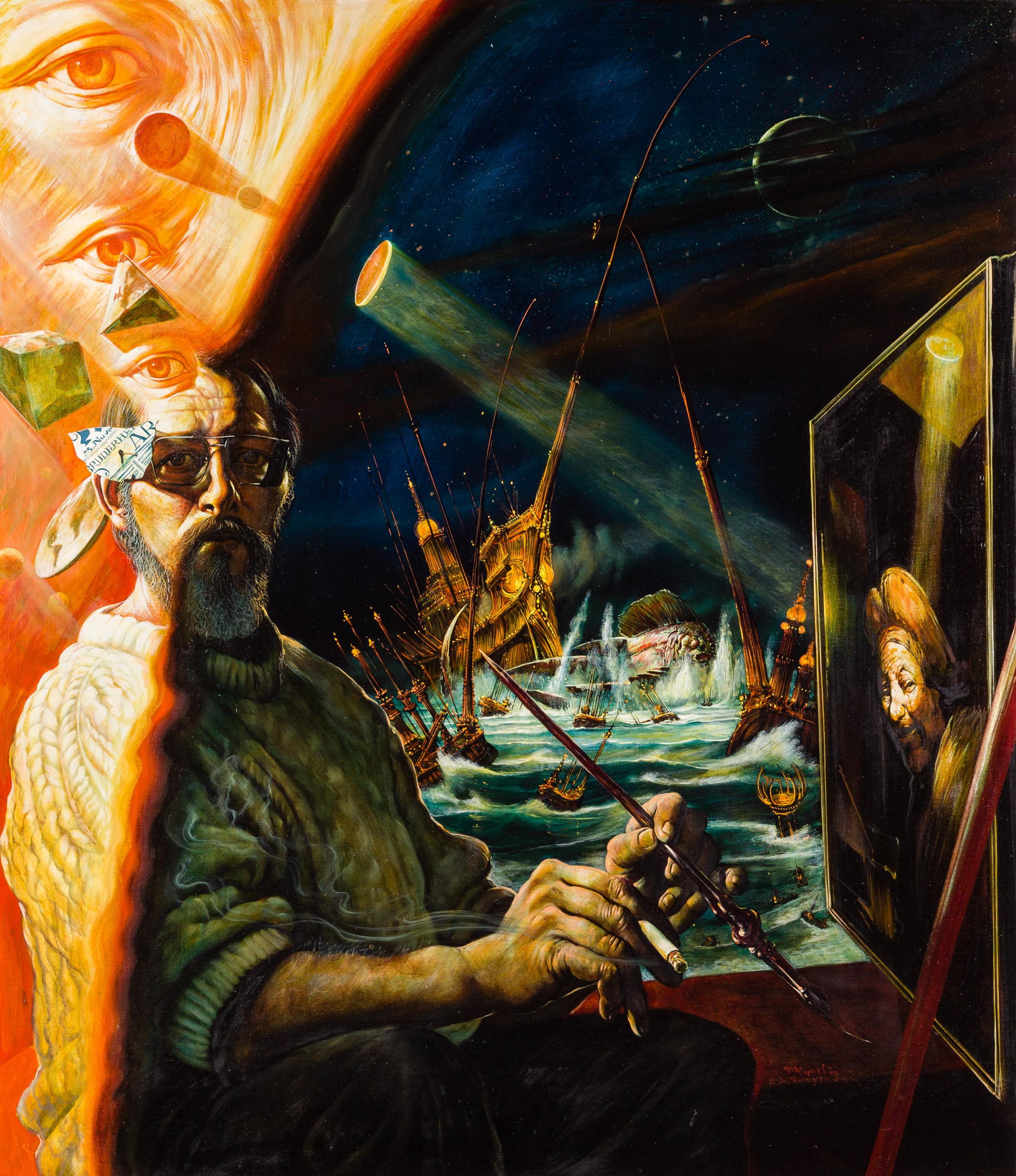 Fritz Aigner, Maler vor Staffelei (Selbstporträt)