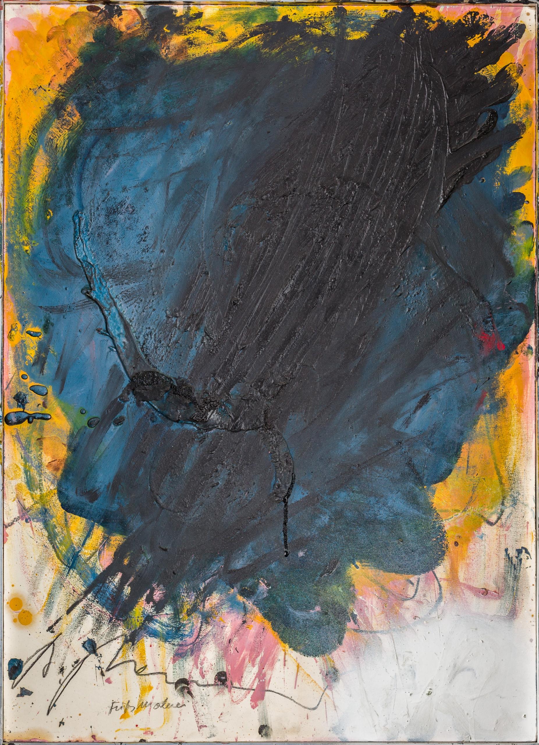 Arnulf Rainer, Blau weiße Schmiererei auf Rosa