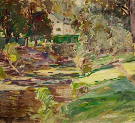 August Rieger, Landschaft mit Mühle