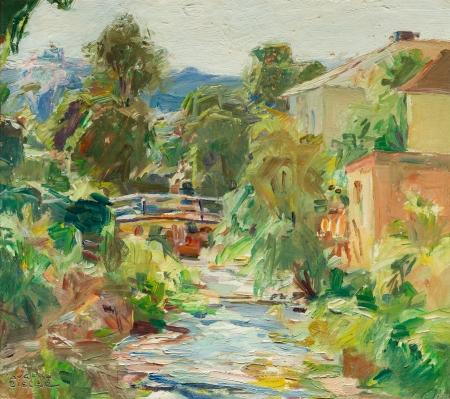 August Rieger, Dorflandschaft mit Bach