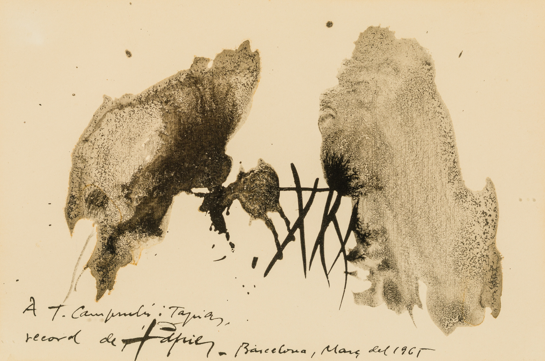 Antoni Tapies, Dibuix-dedicatòria