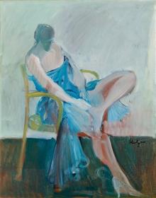 Alfred Kornberger, Dame in blauem Kleid mit nackten Beinen