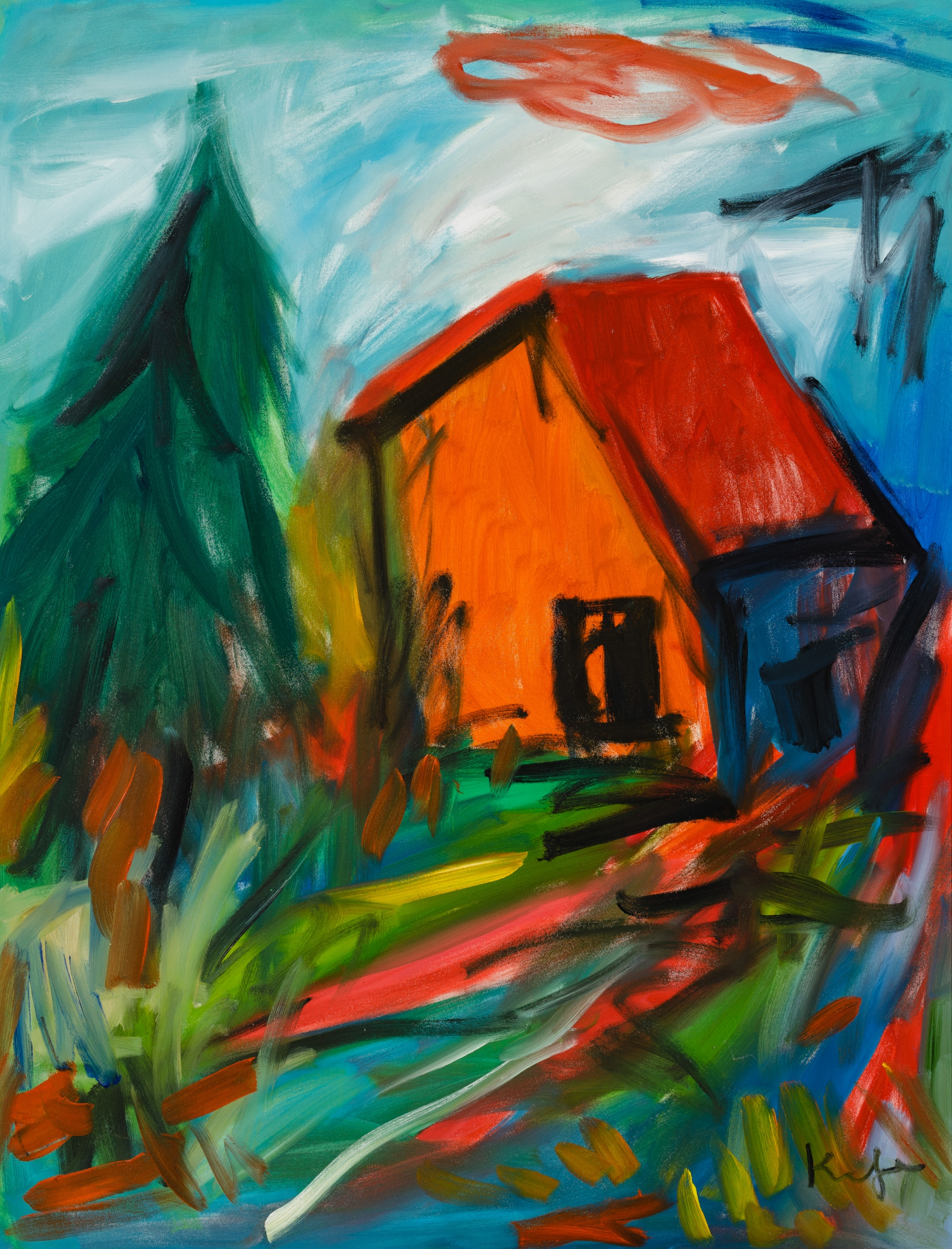 Alfred Kornberger, Rotes Haus im Wald