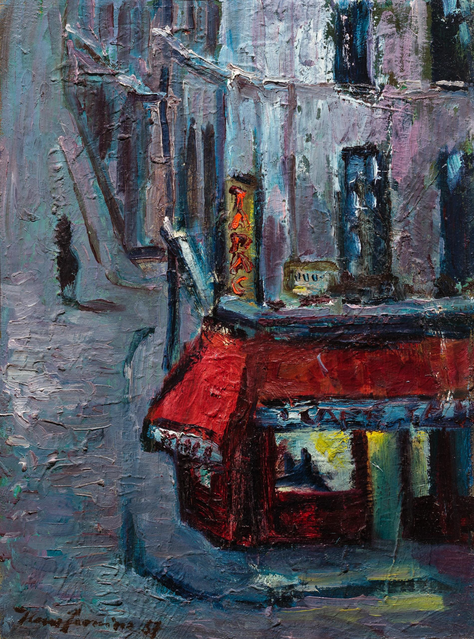 Hans Fronius, Paris Bistro (Straßenszene bei Nacht), Rückseitiges Selbstbildnis des Malers ca. 1950