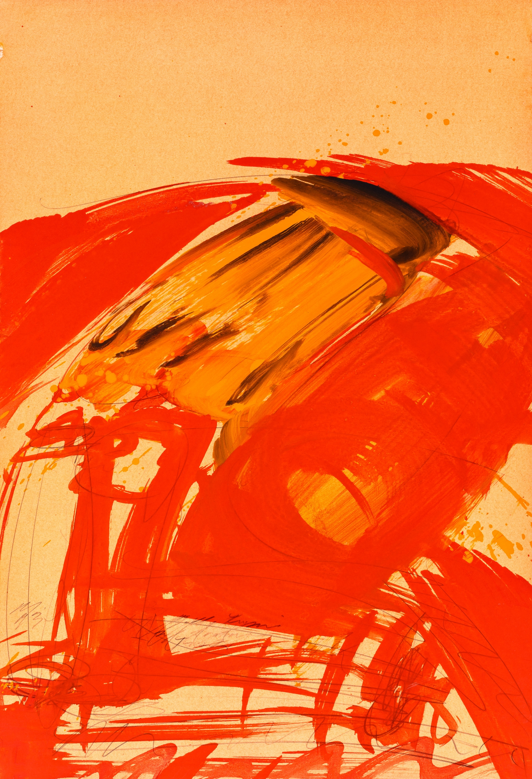 Josef Mikl, Gelbe Figur auf einem roten Tisch