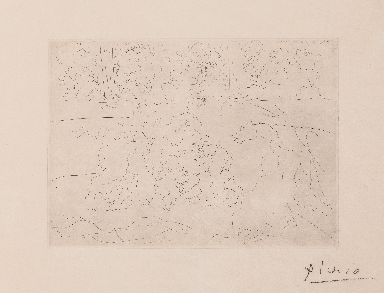 Pablo Ruis Picasso, Taureau et Chevaux dans L'Arene