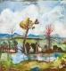 Hildegard Joos, Dorflandschaft an einem See