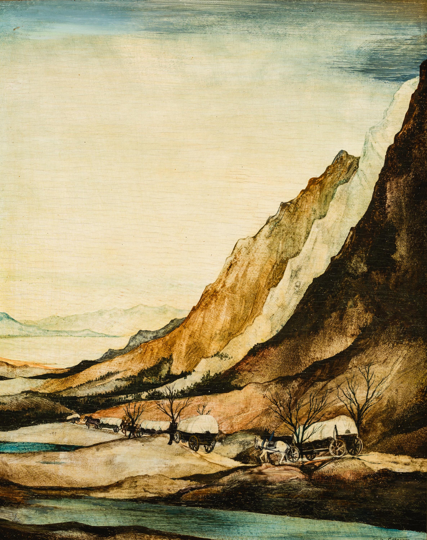 Otto Rudolf Schatz, Landschaft mit Planwagen
