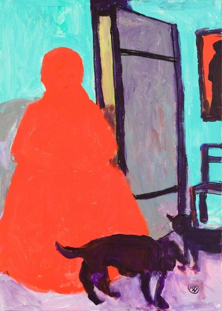Robert Hammerstiel, Die wartende Frau mit Hund und Katze