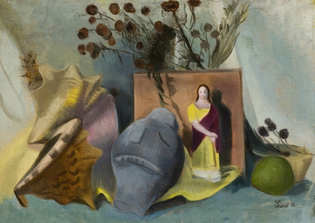 Greta Freist, Stillleben mit Christusfigur und Muscheln