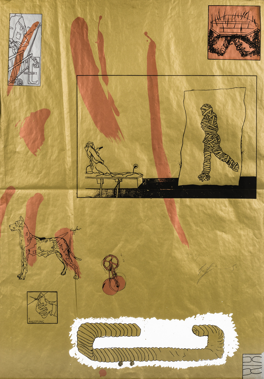 Bruno Gironcoli, 9 Siebdrucke in Gold-, Kupfer- und Silberfarbe (9 works)