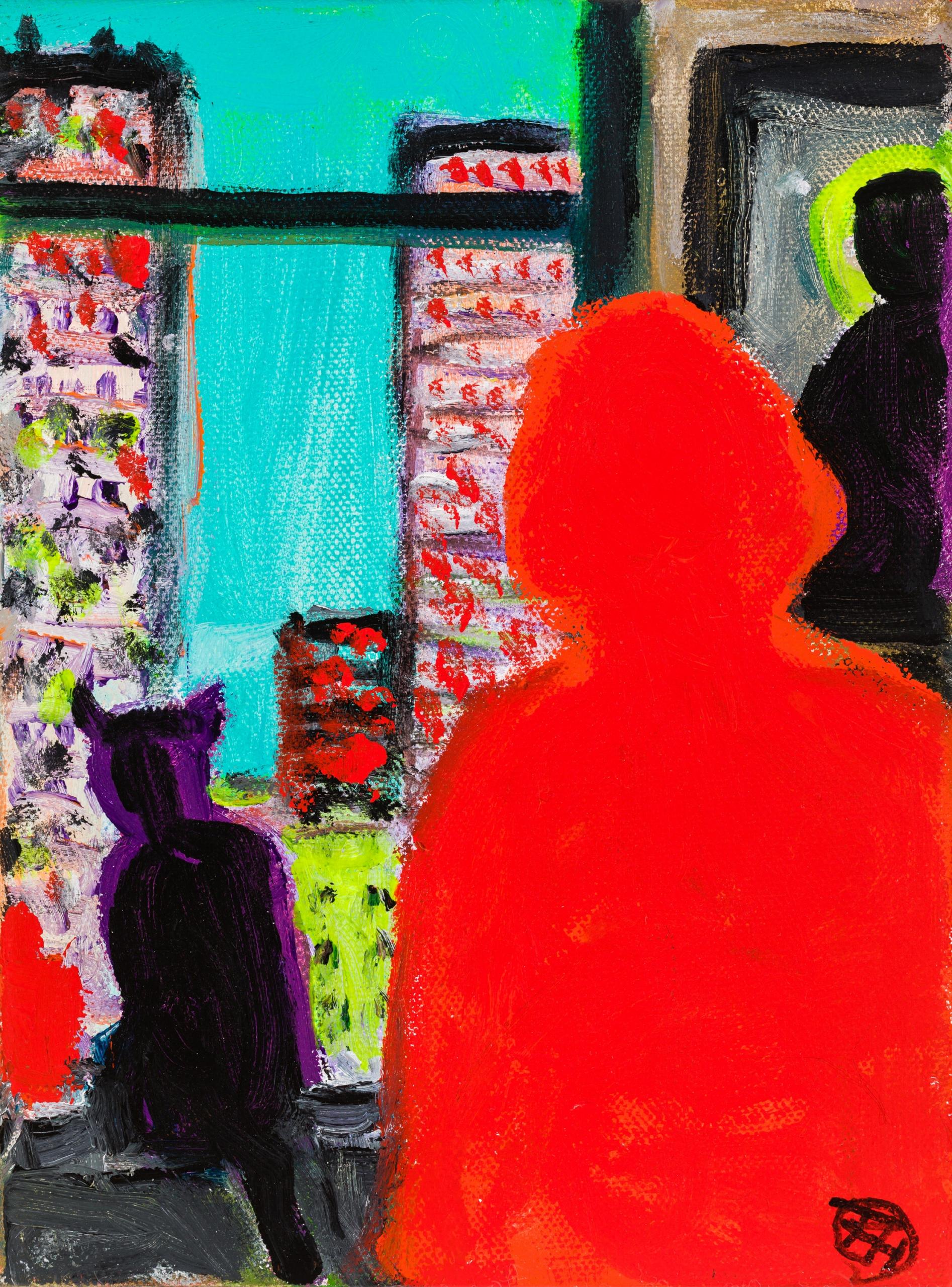 Robert Hammerstiel, Frau mit Katze am New Yorker Fenster