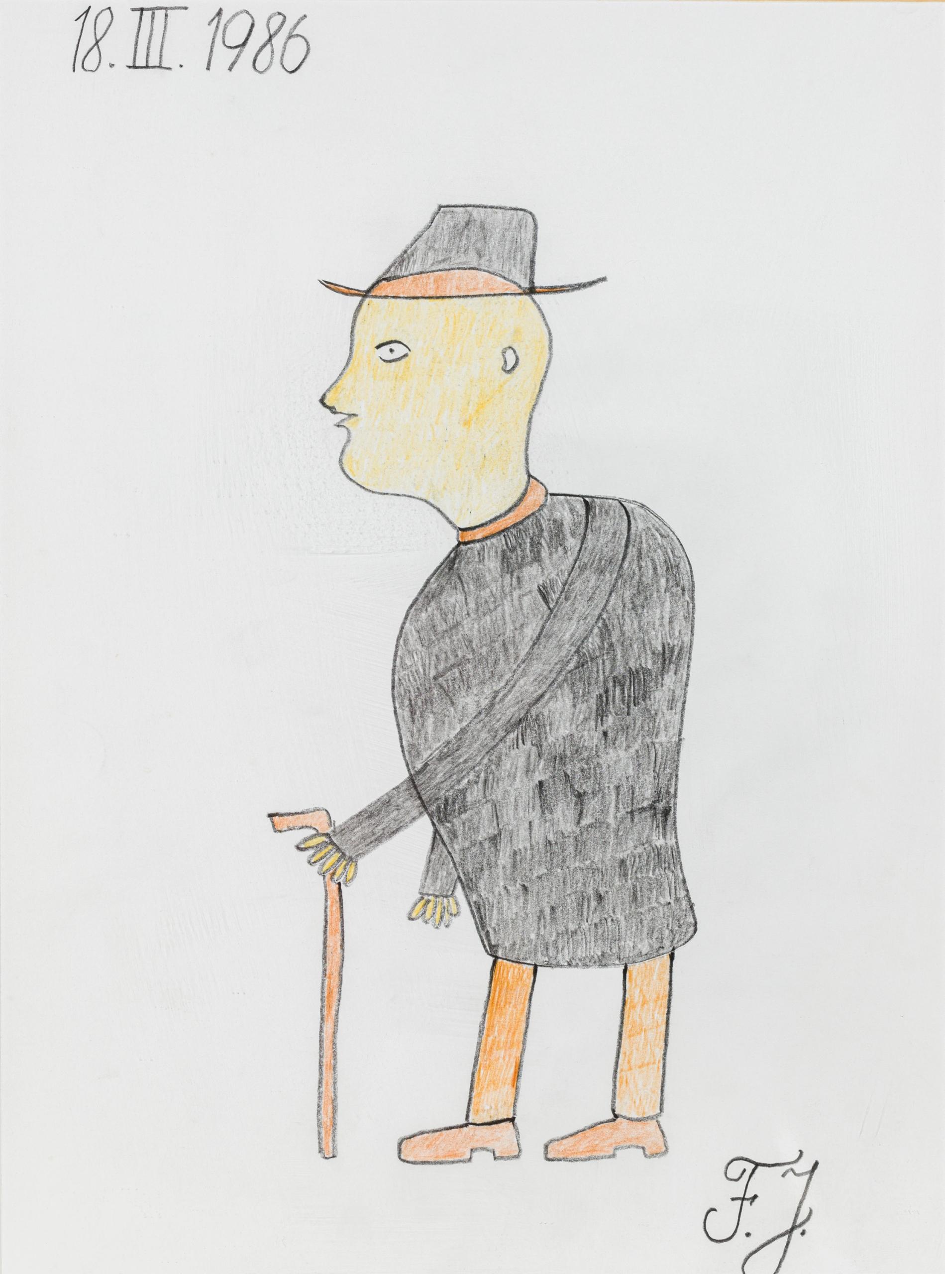 Johann Fischer, Mann mit Stock