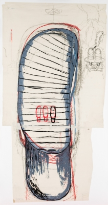 Bruno Gironcoli, Entwurf (Umriss) für eine Figur im Stehaufmännchensystem