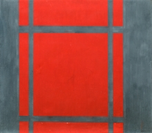 Markus Prachensky, Komposition Rot auf Grau