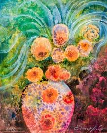 Ernst Fuchs, Blumen mit Vase