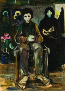 Robert Hammerstiel, Sitzender Knabe mit lesender alter Frau