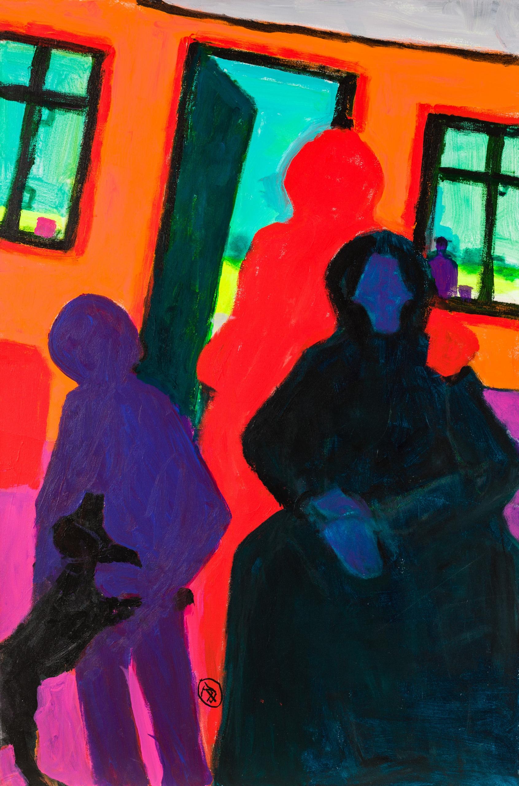 Robert Hammerstiel, Interieure mit 3 Gestalten, Tisch und Hund