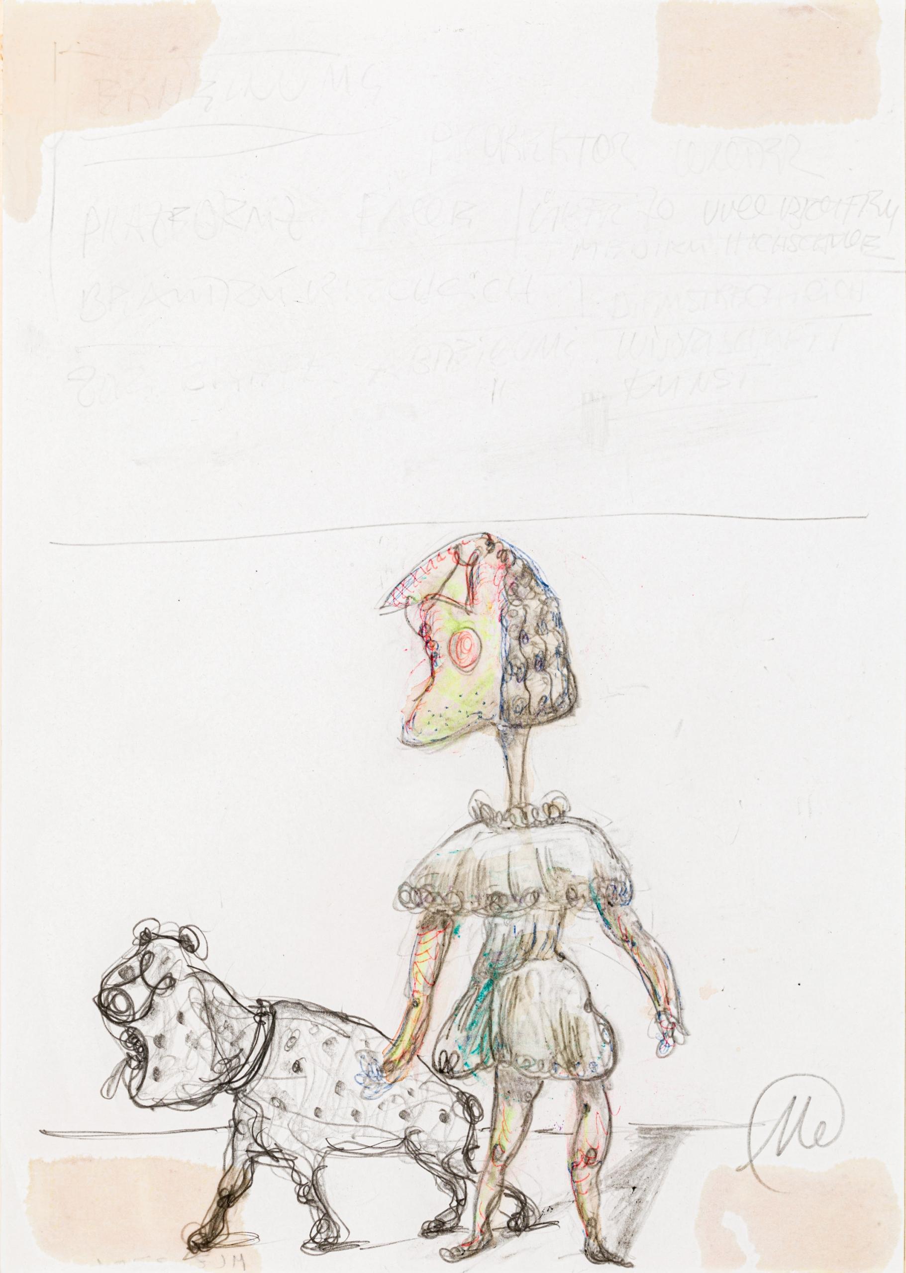 Markus Lüpertz, Ohne Titel (Frau mit Hund)