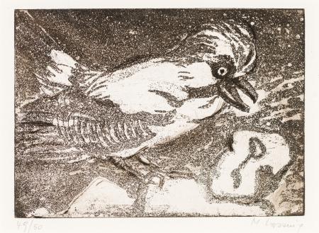 Maria Lassnig, Ohne Titel (Komposition mit Vogel)