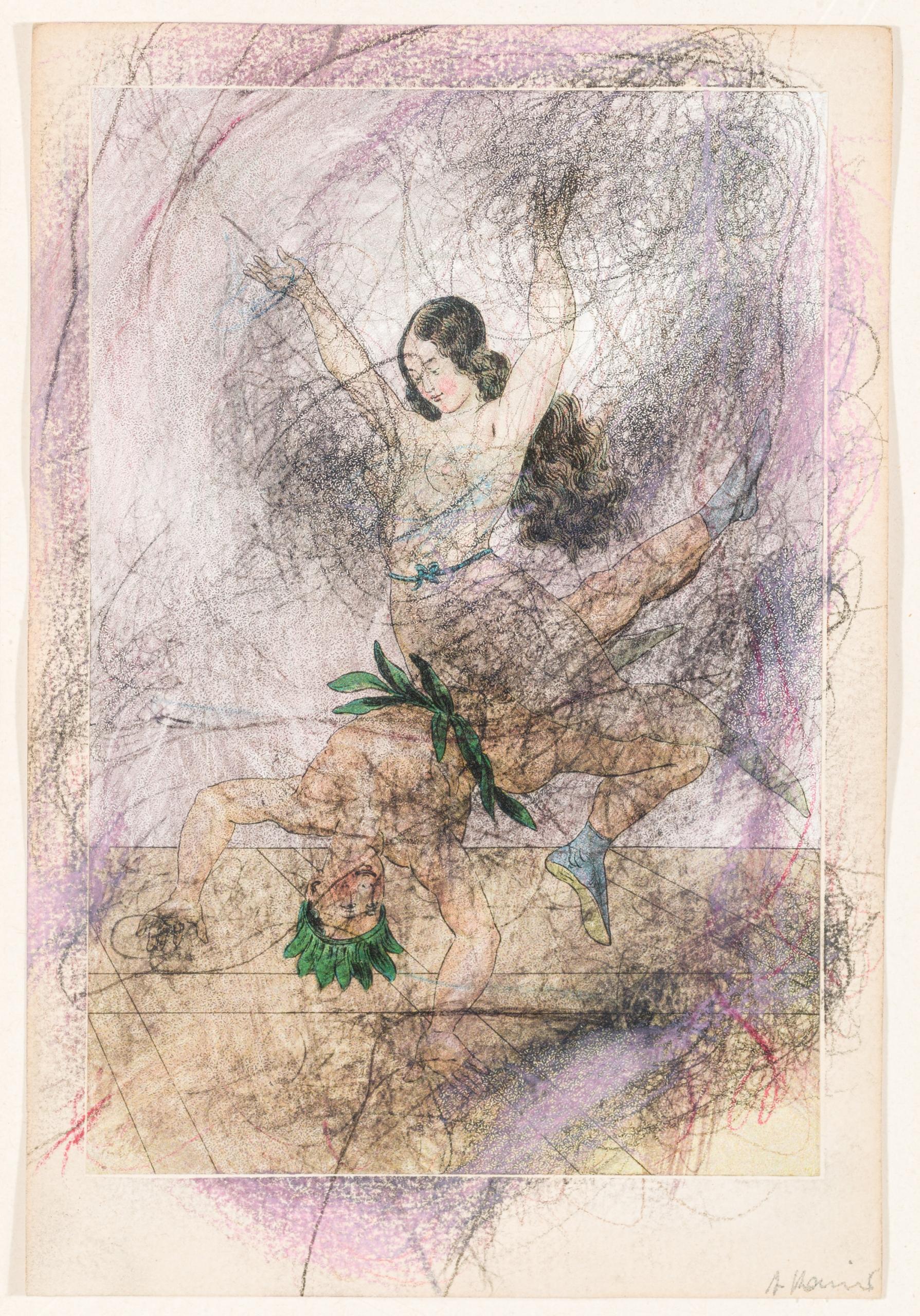 Arnulf Rainer, Ohne Titel (Erotische Darstellung aus der Pseudologica Serie von Peter Fendi)