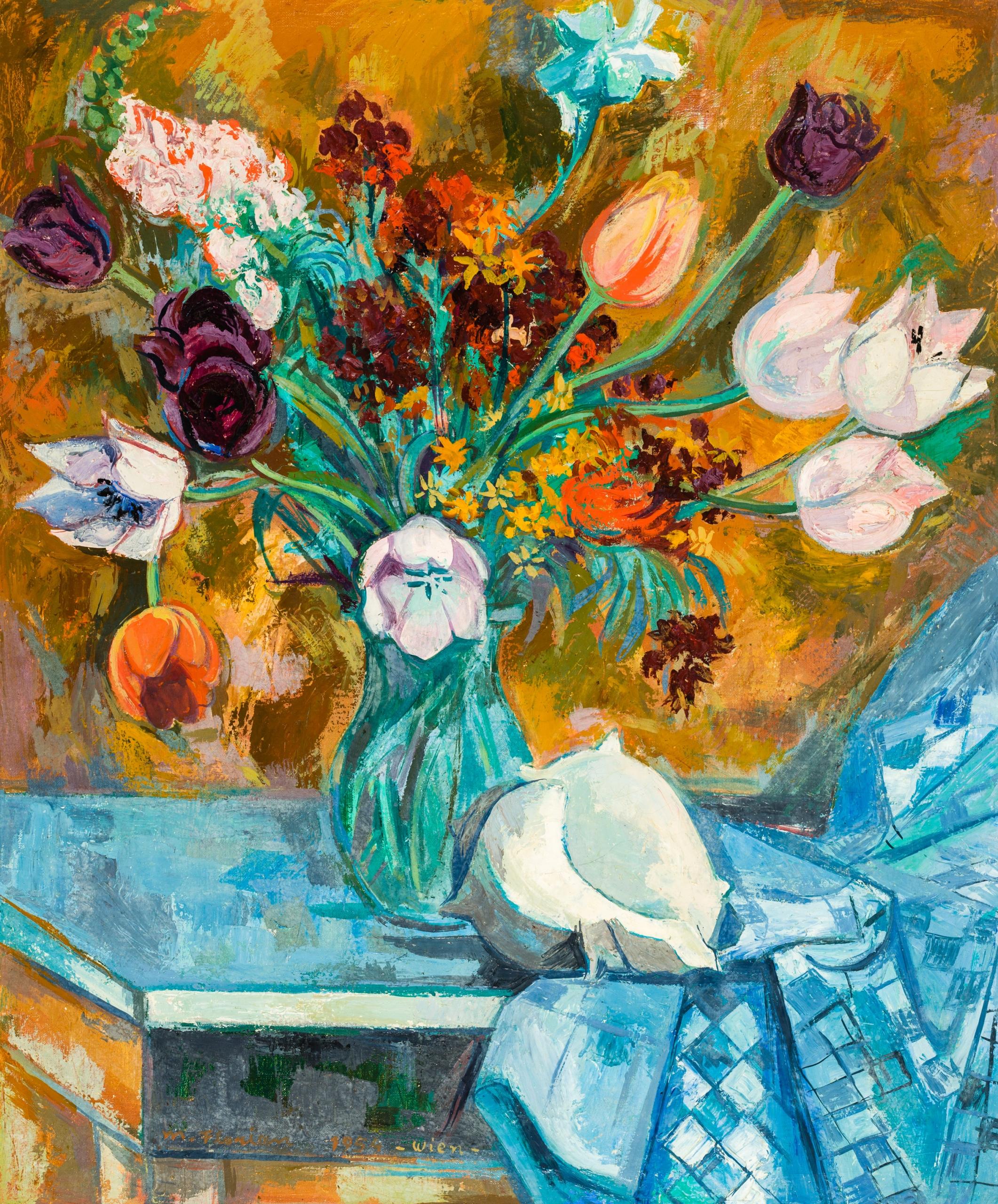 Maximilian Florian, Blumenvase mit Muschel auf Tisch (Stillleben)