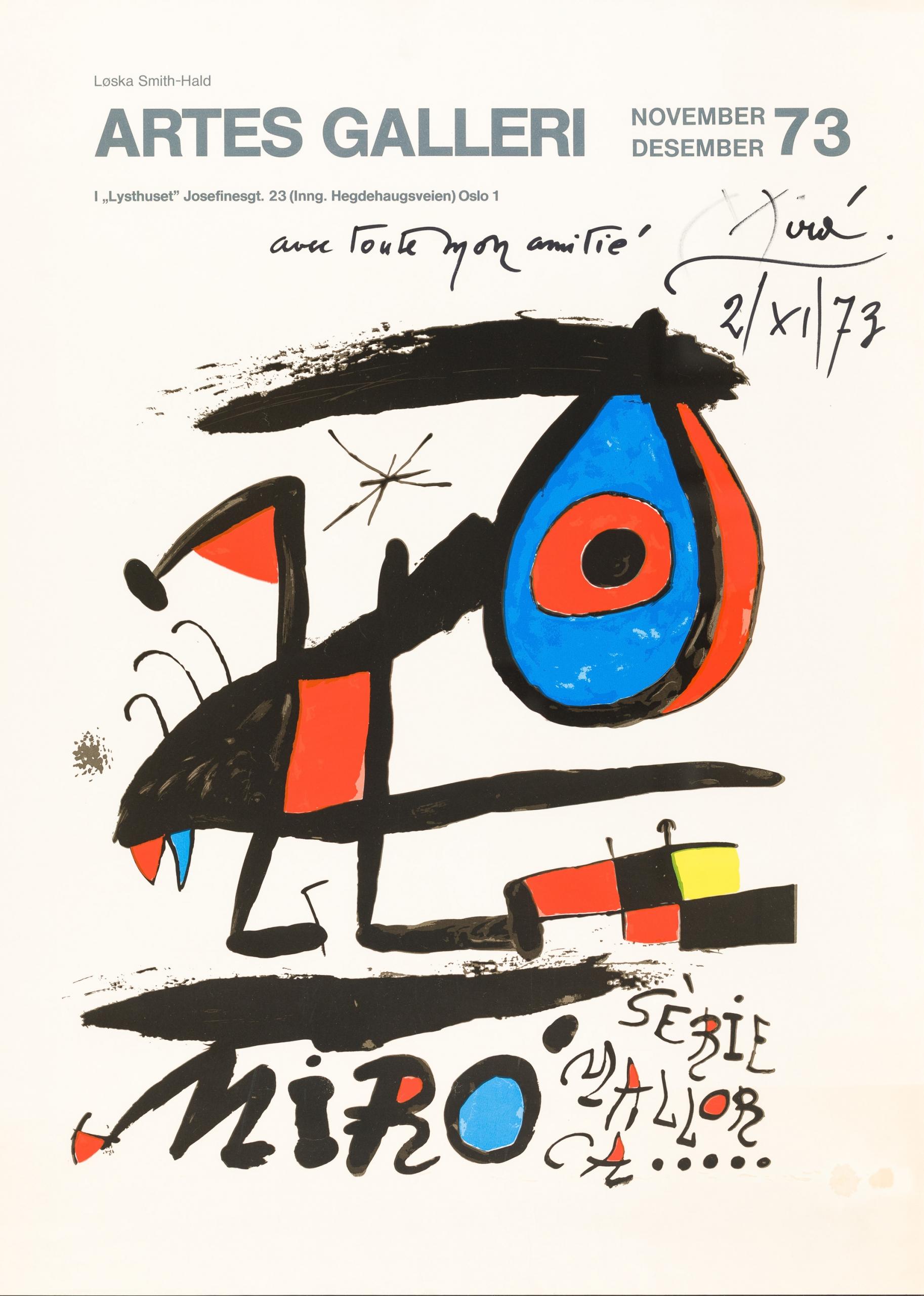 Joàn Miró, Sèrie Mallorca - Ausstellungsplakat (Artes Galleri, Oslo 1973)