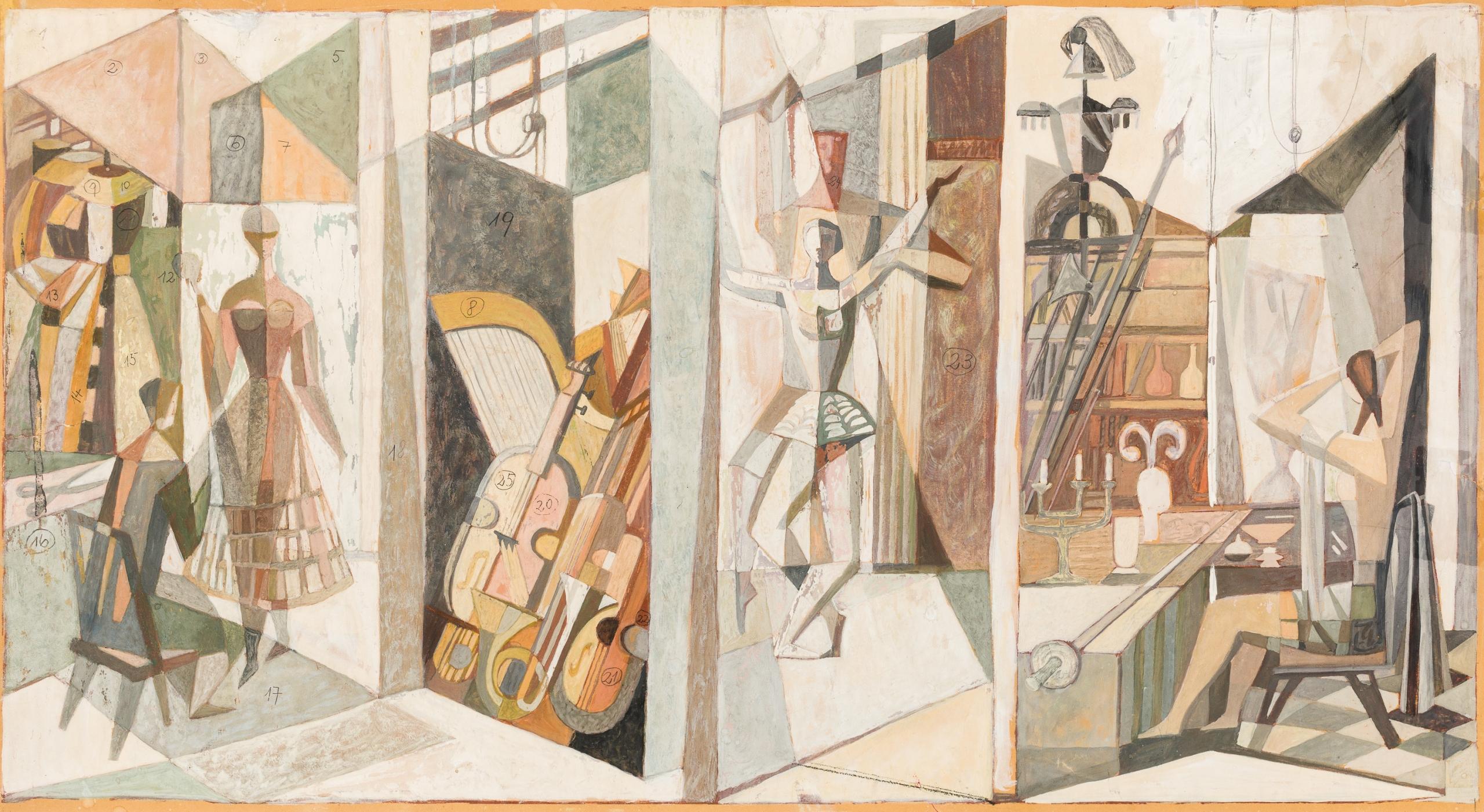 Heinz Leinfellner, Entwürfe für das Mosaik in der Wiener Staatsoper (2 Werke / two works)
