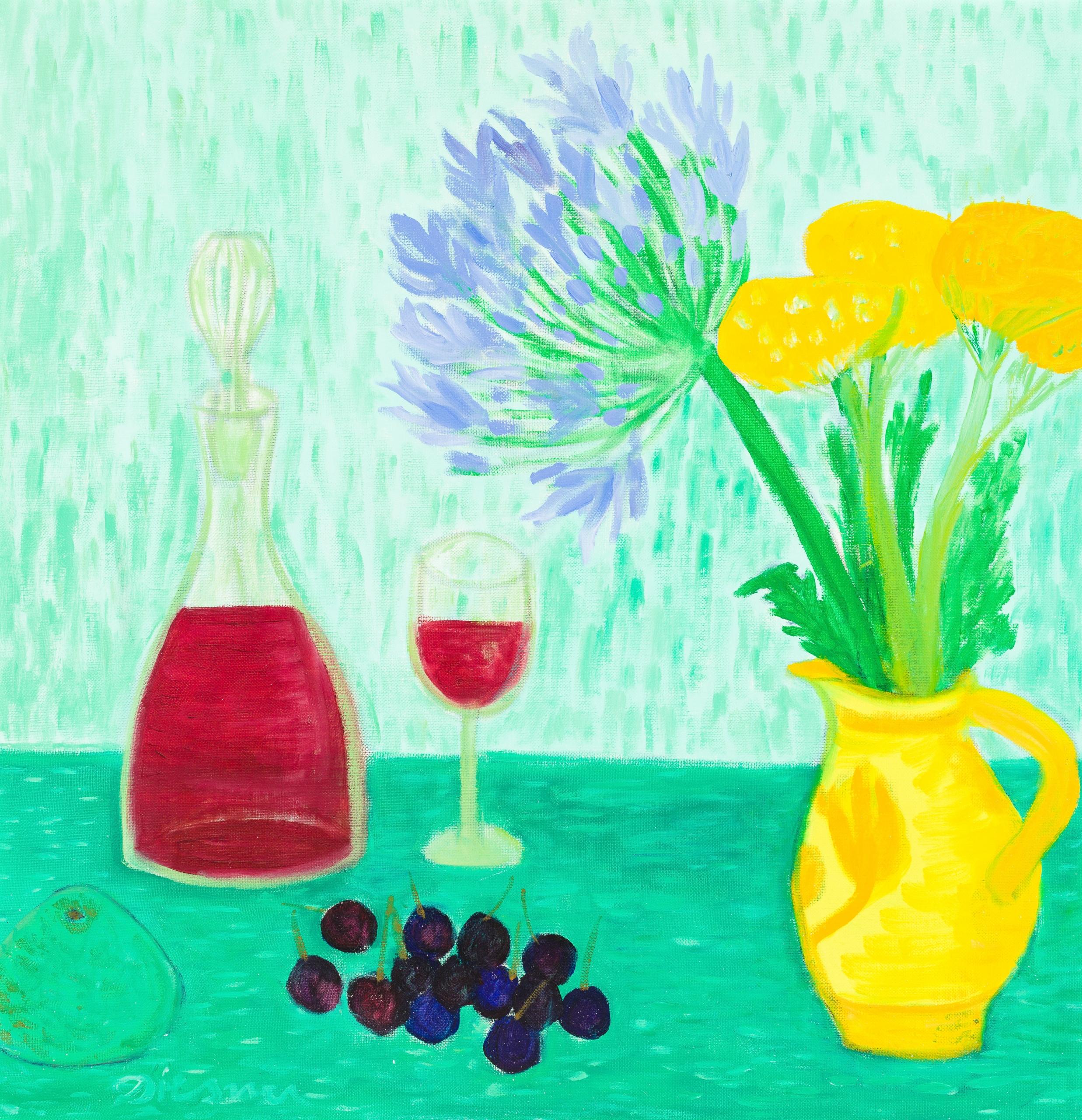 Gerhild Diesner, Stillleben mit Rotweinkaraffe, Obst und Blumen