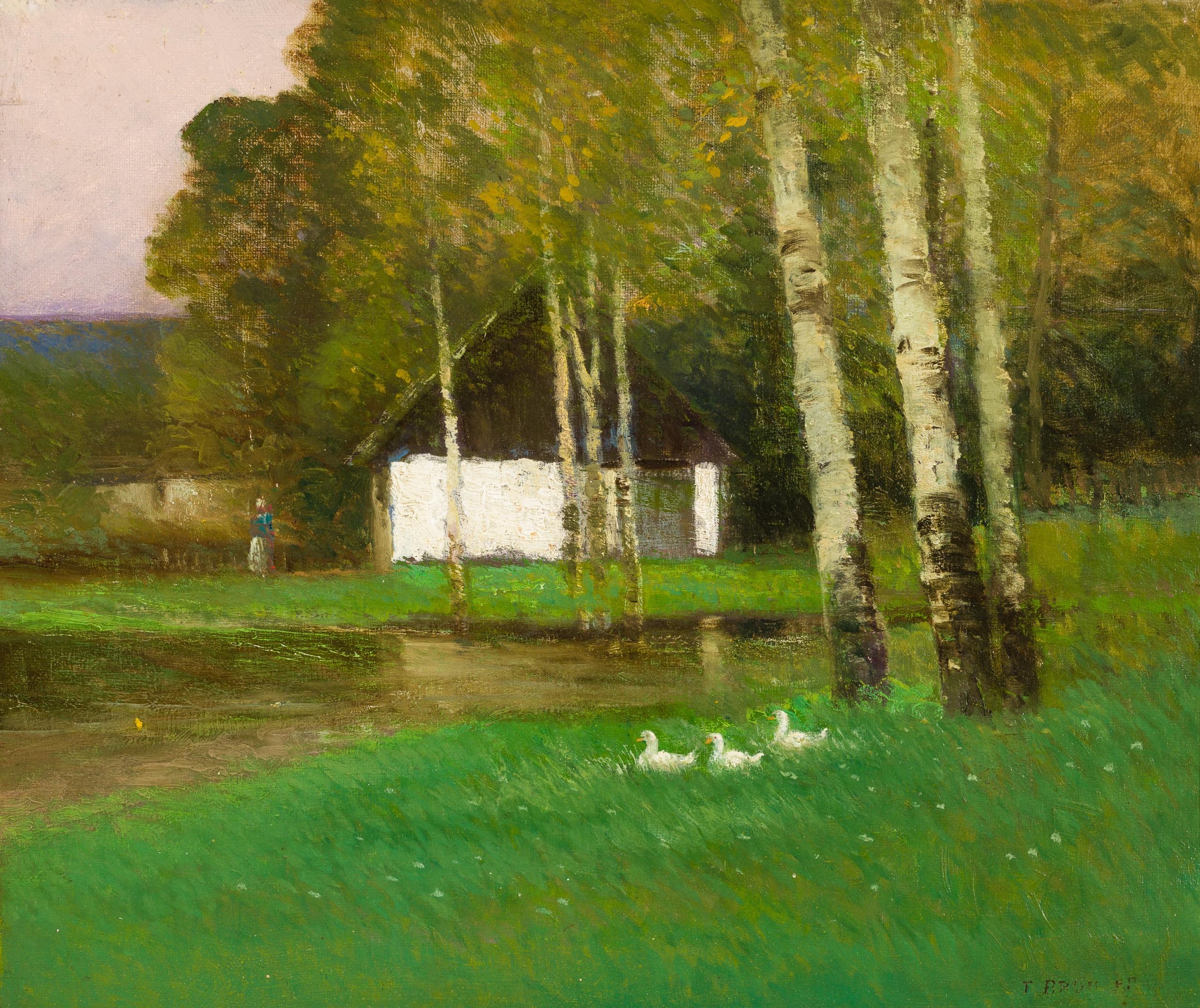Ferdinand Brunner, Teichlandschaft mit Enten