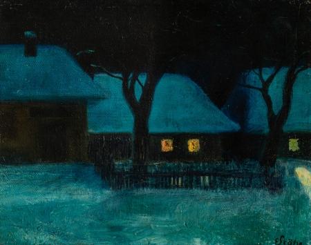 Ernst Stöhr, Nächtliche Winterlandschaft mit Häusern