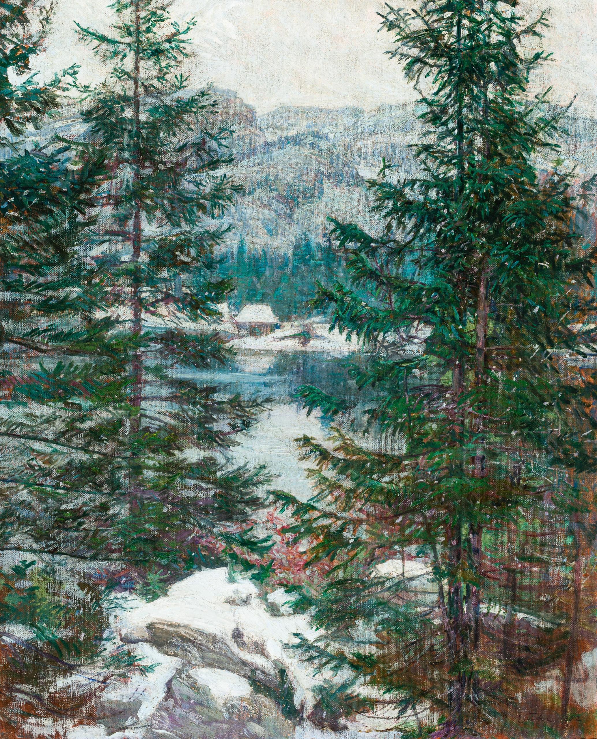 Ernst Stöhr, Winterliche Berglandschaft mit See