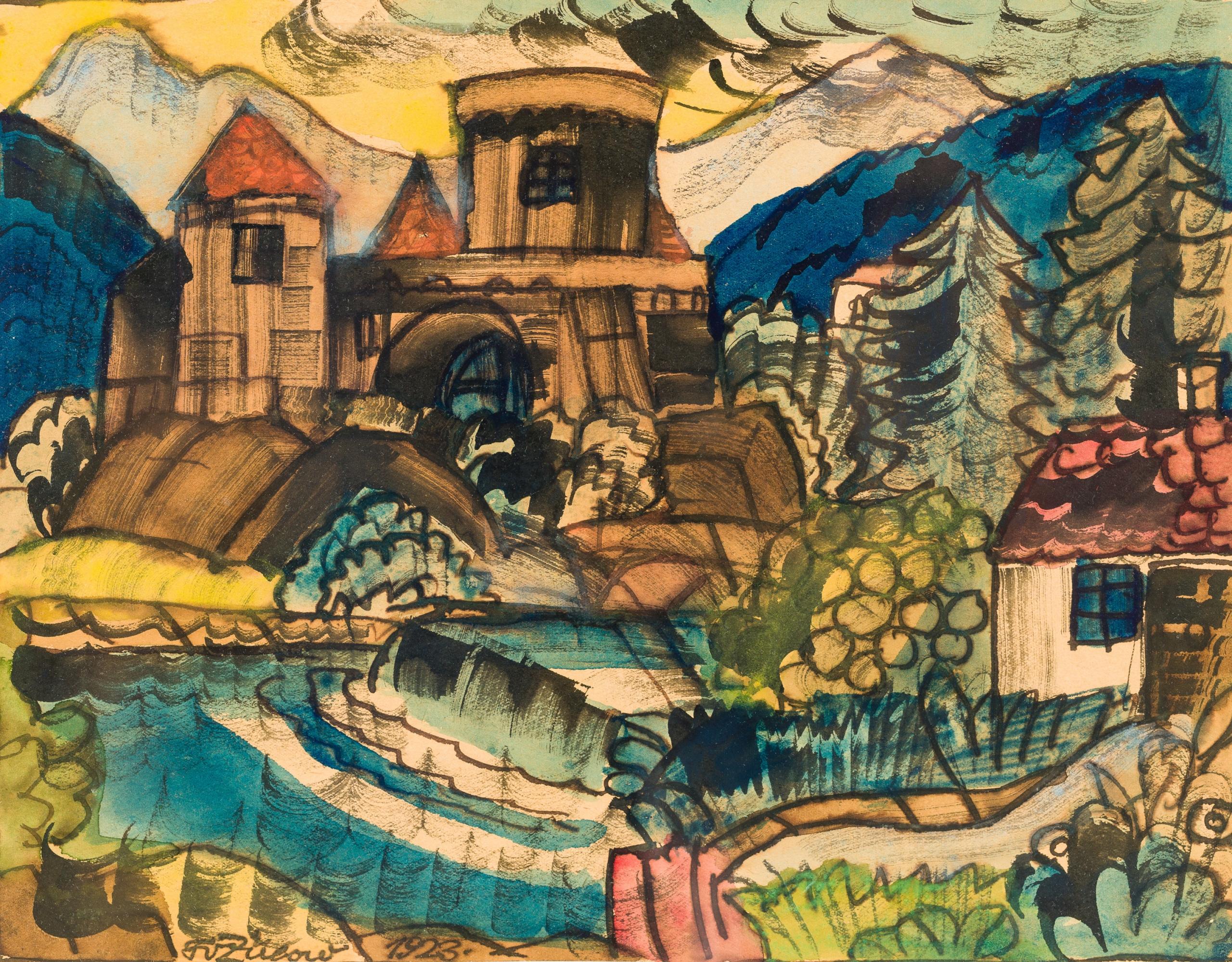Franz von Zülow, Dorflandschaft an einem Fluss