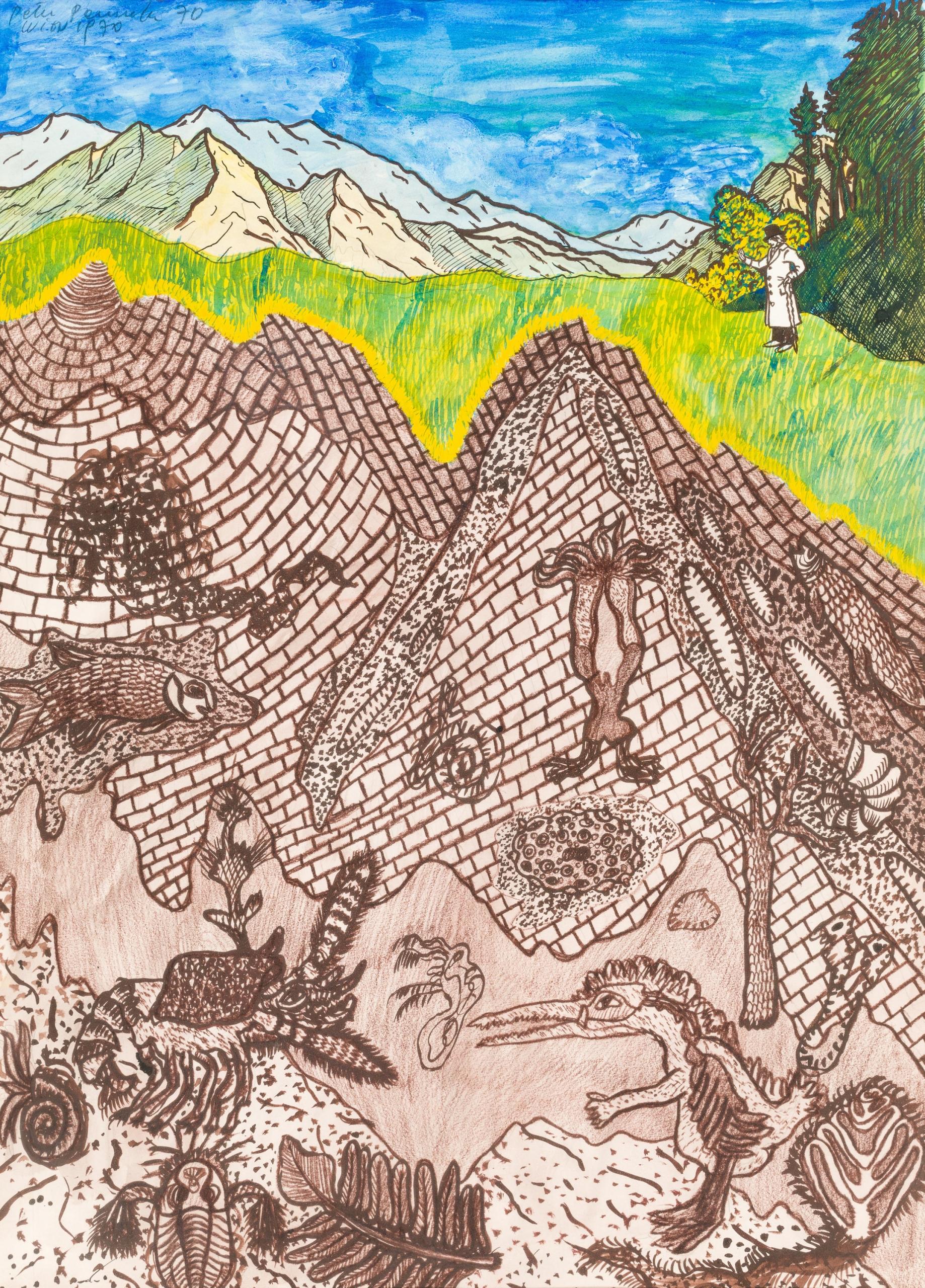 Peter Pongratz, Geologische Landschaft (Entwurf für eine Lithografie)
