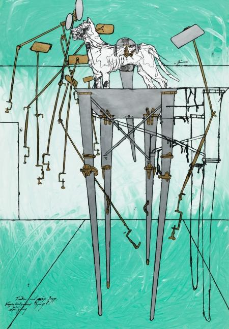 Bruno Gironcoli, Turm mit präp. Dogge, Körperdurchdringung und Spiegel