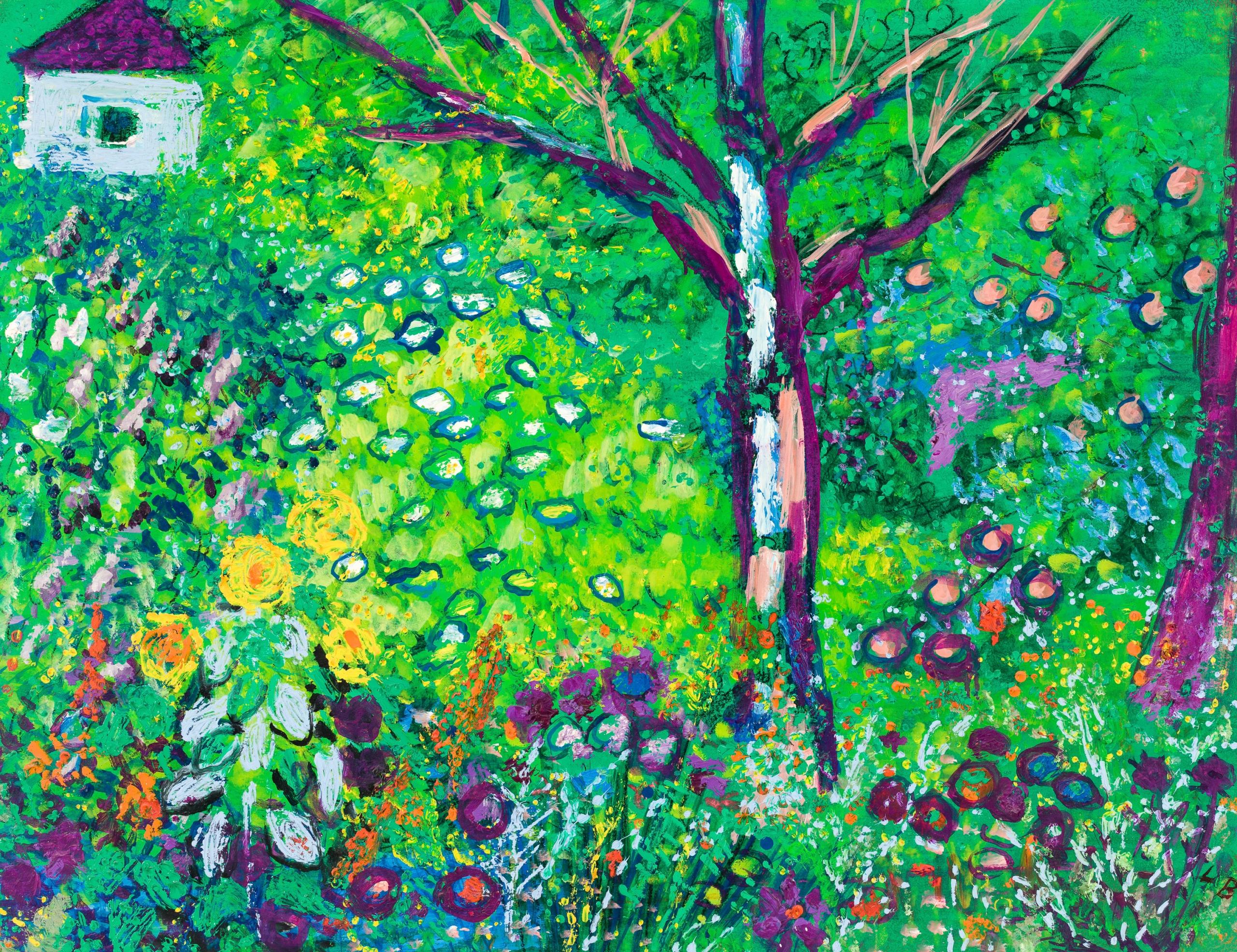 Leopold Birstinger, Bunter Blumengarten mit kleinem blauem Haus und Baum