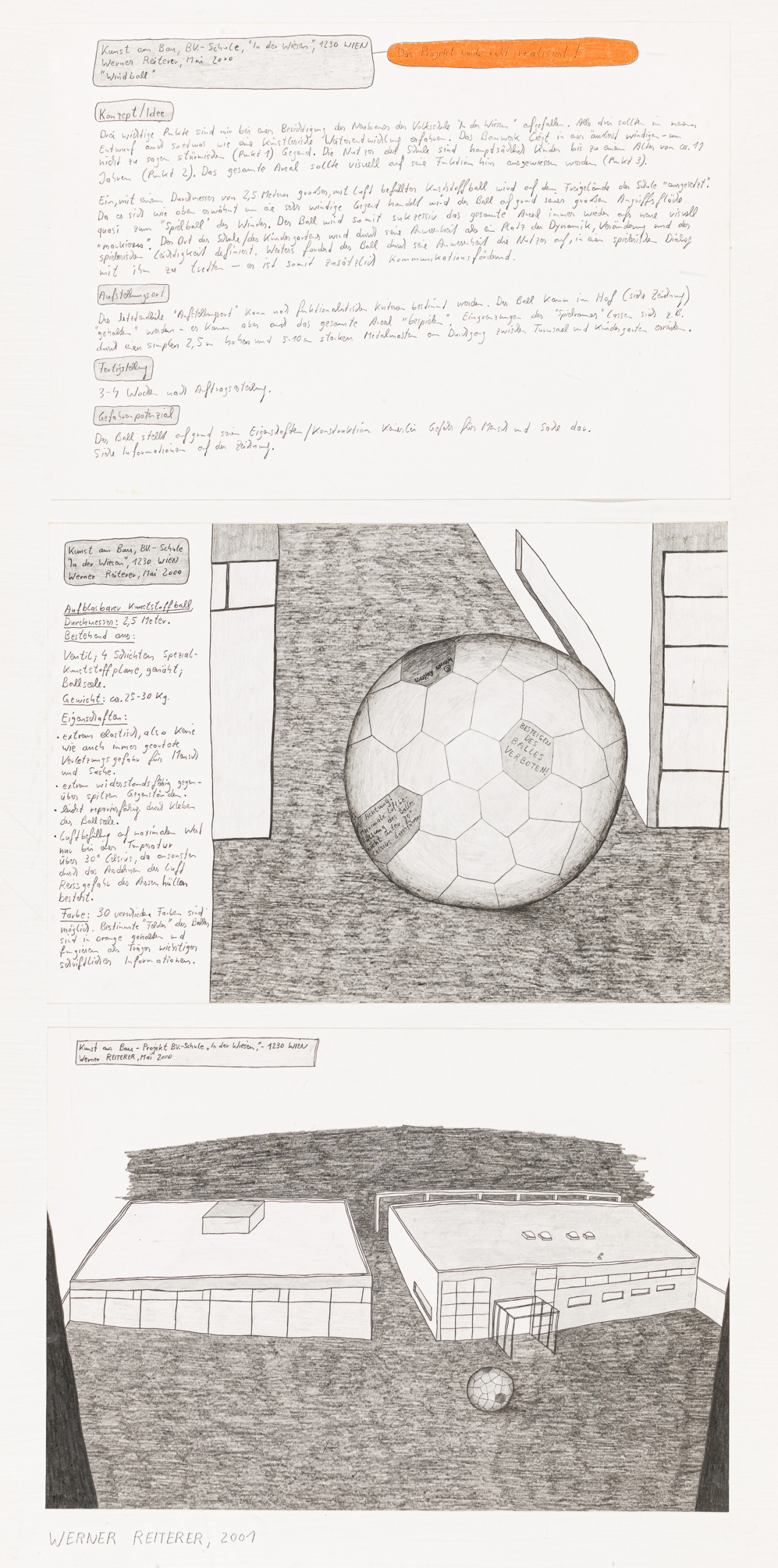 """Werner Reiterer, Ohne Titel (Kunst am Bau Projekt, Volkschule """"In der Wiesen"""" 1230 Wien)"""