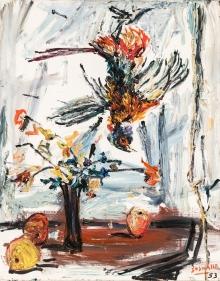 Soshana, Cock (Stillleben mit Blumen, Obst und Vogel)
