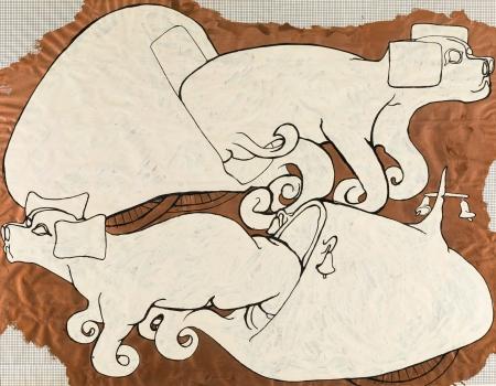 Bruno Gironcoli, Entwurf, 2 rosa Fluschi (Hunde)