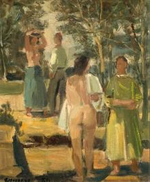 Rudolf Hermann Eisenmenger, 4 Figuren in Landschaft beim Bad