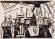 Lyonel Feininger, Schiffe am Hafenquai